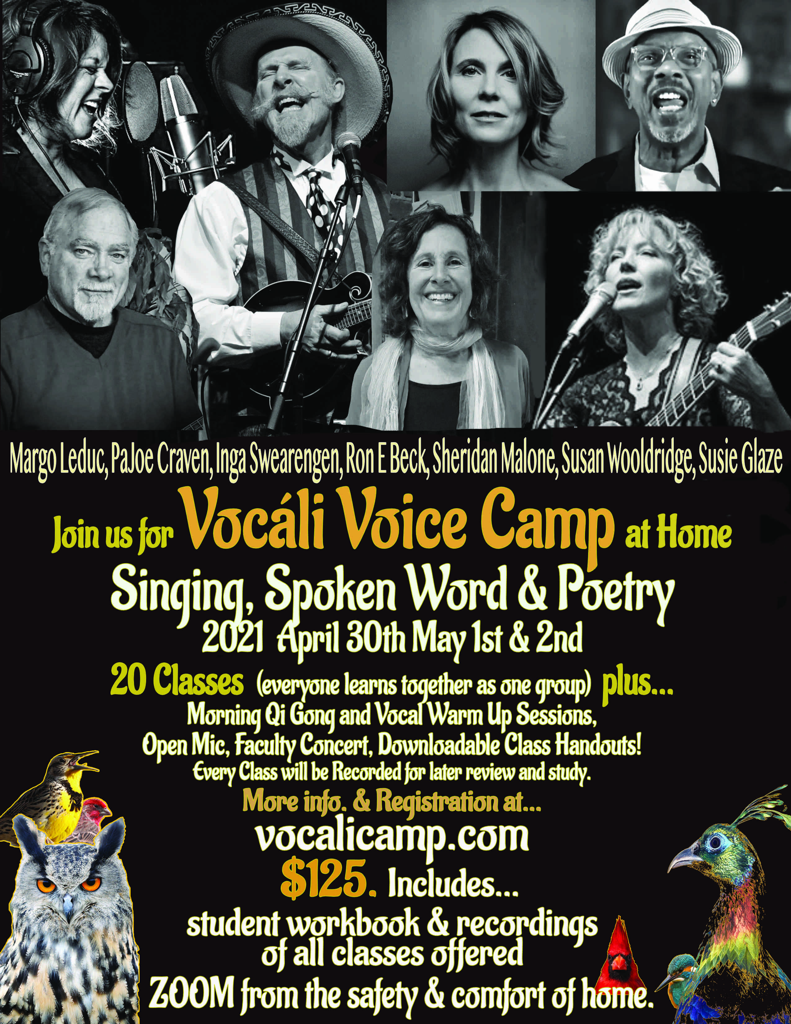 The Woodshed Sessions Return March 28 on Facebook LIVE!                 Susie teaches at Vocáli Voice Camp April 30-May 2!